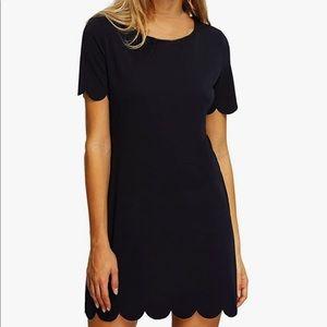 Black scalloped hem stretchy shift dress XL XXL